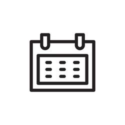 flat line calendar icon. Logo element illustration. calendar design. vector eps 10 . calendar concept. Can be used in web and mobile .
