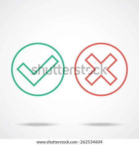 Flat line check marks icons. ストックフォト ©