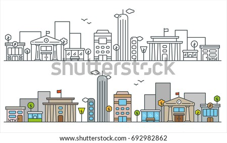 Flat Line City Street Landscape View Concept with Buildings, Roads, Trees. Editable Stroke. Black and Filled Outline Version. Minimal Icon Illustration.