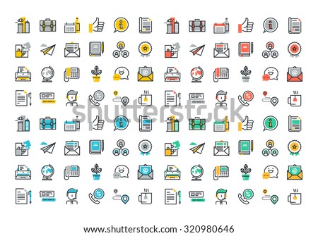 Flat line colorful icons collection of business essentials object, office tools, professional solution item, company information and services, communication and support.