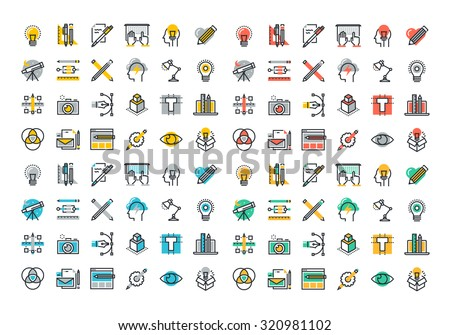 Flat line colorful icons collection of graphic design, web design, photography, industrial design, logo design, branding, corporate identity, stationary, product design.