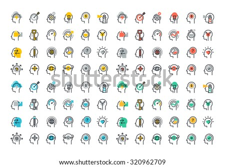 Flat line colorful icons collection of human brain process, people thinking, emotions, mental health, creative process, business solution, character experience, strategy and development, opportunities