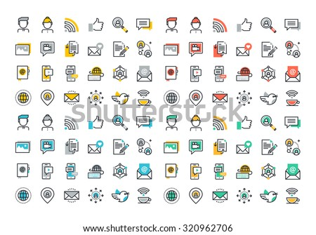 flat line colorful icons