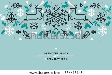 flat line design christmas and