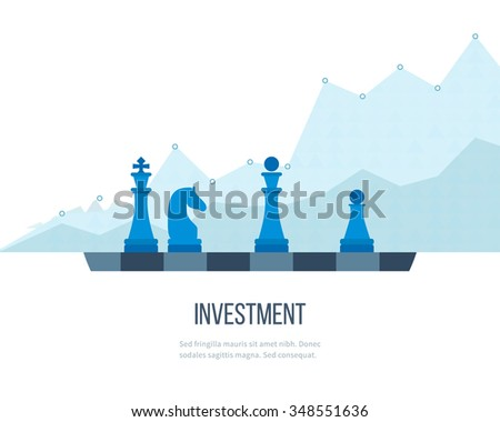 Flat line design concept for investment, finance, banking, market data analytics, strategic management. Strategy for successful business. Investment growth. Investment business. Investment management.