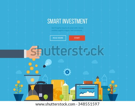 Flat line design concept for smart investment, finance, banking, market data analytics, strategic management, financial planning. Business diagram graph chart. Investment growth. Property investment