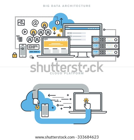 Flat Line Design Concepts For Big Data Architecture Technology Database Analytics