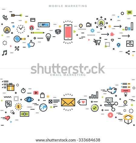 Flat line design concepts for mobile marketing, email marketing, online advertising, product and services promotion, marketing solutions and app development, for website banner and landing page.