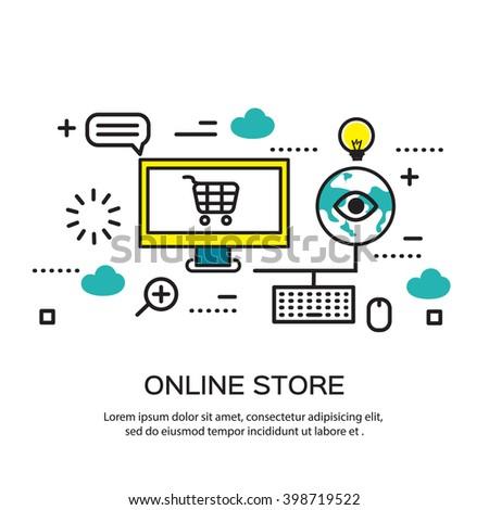 Flat line design, e-commerce business concept, internet store