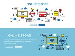 Flat line design, e-commerce business concept, internet store, process e-commerce