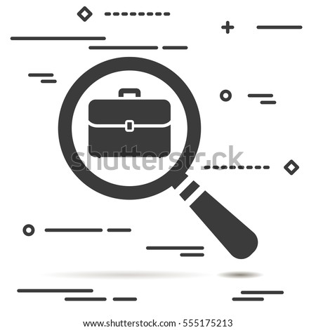 Flat Line design graphic image concept of magnifying glass with flat portfolio briefcase icon on a grey background