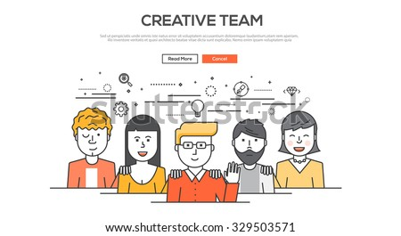 Flat Line design graphic image concept, website elements layout of  Creative team. Icons Collection of Creative Work Flow Items. Vector Illustration