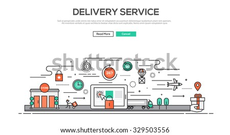 Flat Line design graphic image concept, website elements layout of Delivery service. Icons Collection of Creative Work Flow Items. Vector Illustration
