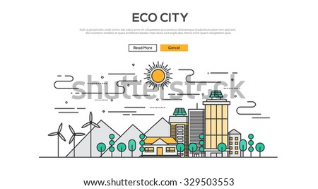 Flat Line design graphic image concept, website elements layout of  Eco City. Icons Collection of Creative Work Flow Items. Vector Illustration