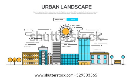 Flat Line design graphic image concept, website elements layout of  Urban Landscape. Icons Collection of Creative Work Flow Items. Vector Illustration