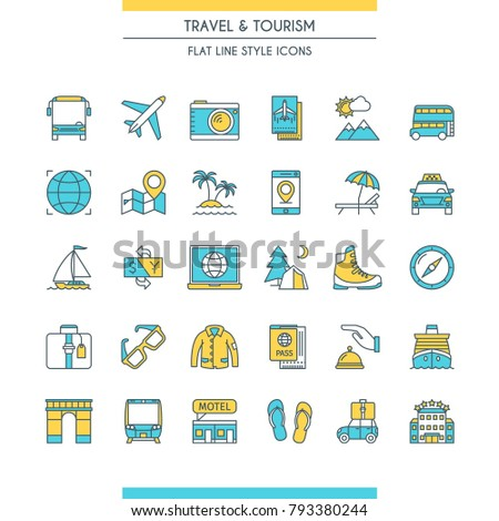 Flat line design icons on theme tourism. Travel and recreation signs. Vector illustration