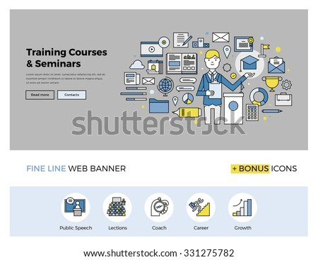 Flat line design of web banner template with outline icons of business mentor training course, online seminar, internet workshop service. Modern vector illustration concept for website or infographics