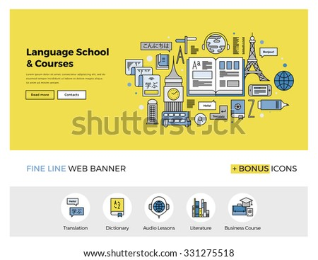 Flat line design of web banner template with outline icons of foreign language translation service, online school of English course. Modern vector illustration concept for website or infographics.