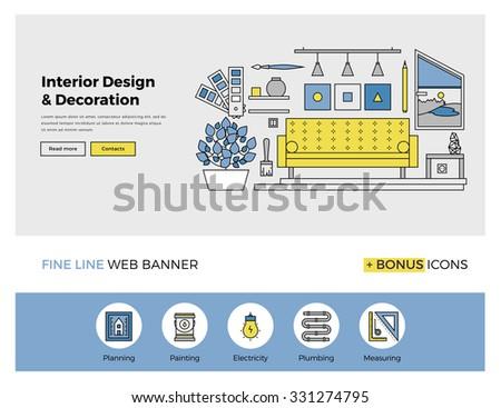 flat line design of web banner