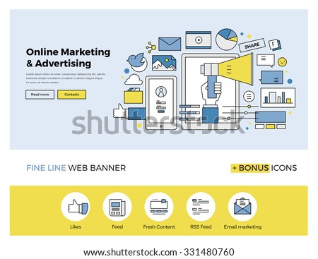 Flat line design of web banner template with outline icons of online marketing promotion, digital advertising research, SMM campaign. Modern vector illustration concept for website or infographics.