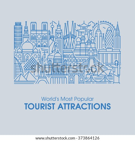 Flat line design style illustration of world\'s most popular tourist attractions. Modern vector background for traveling, summer vacation, tourism and journey concepts