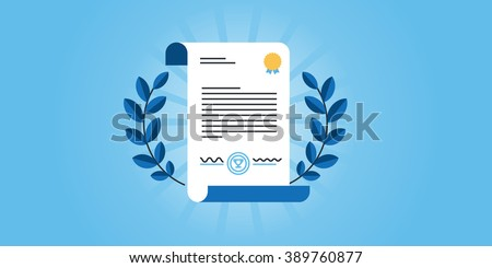 Flat line design website banner for certificate, diploma. Modern vector illustration for web design, marketing and print material.