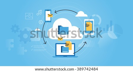 Flat line design website banner of business cloud computing. Modern vector illustration for web design, marketing and print material.