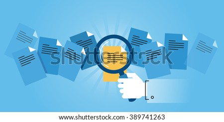 Flat line design website banner of document search. Modern vector illustration for web design, marketing and print material.