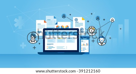 Flat line design website banner of health plan management solutions. Modern vector illustration for web design, marketing and print material.