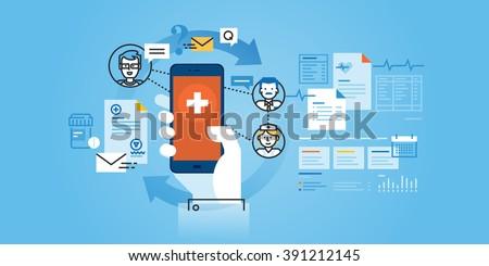 Flat line design website banner of healthcare mobile app. Modern vector illustration for web design, marketing and print material.