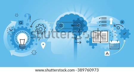 Flat line design website banner of learning process, brain process, creativity, innovation, learn to think. Modern vector illustration for web design, marketing and print material.