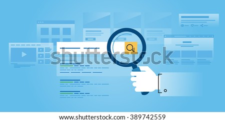 Flat line design website banner of web search, SEO, ranking sites, rating. Modern vector illustration for web design, marketing and print material.