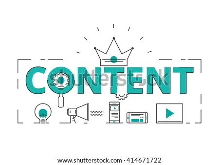 Flat line design word content concept of content digital marketing with icons and elements. Can be used for book cover, report header, presentation,infographics, printing, website banner.