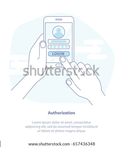 Flat line icon concept of Account log in page on smartphone screen. Hand holds the mobile phone and finger touches screen. Modern Flat isolated vector illustration.