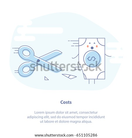 Flat line icon concept of Costs, Budget Cuts, Inflation, Cutting Expenses. The money bill runs away from the scissors. Isolated Vector Illustration