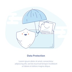 Flat line icon concept of Data protection, File Security and Access rights concepts. Cute Cartoon Folder, Documents and Shield with Umbrella. Isolated Vector illustration.