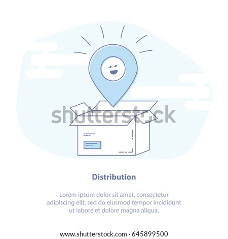 Flat line icon concept of Delivery Services, Logistics and Transportation, Cargo Shipment or Distribution. Cute opened box. Isolated vector illustration.