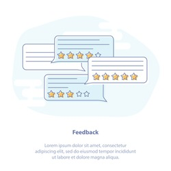 Flat line icon concept of Feedback, Comments, Ratings. Dialog bubbles with rating stars, good and bad rate and text. Symbol of chat, customer feedback, review.