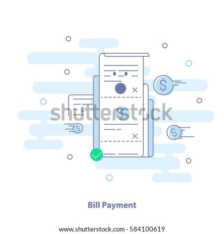 Flat line icon concept of invoice, bill illustration, modern light vector design