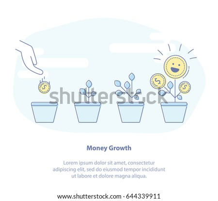 Flat line icon concept of Money Growth, Investment. Hand putting Gold coins and seed in flower pot. Business investment growth concept.