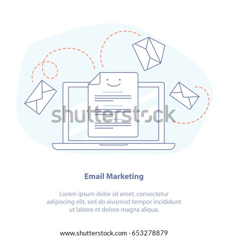 Flat line icon concept of Web page, E-mail marketing, Mailing, News Letter Advertising.  Communication, sharing spam, news and information, promotion, sending email concept. Isolated vector.