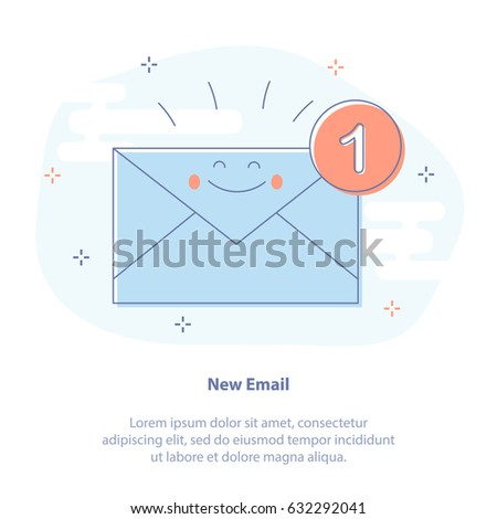 Flat line icon concept set of New Email, incoming message, sms. Vector illustration of laptop with happy envelope. Mail notification, sending messages.