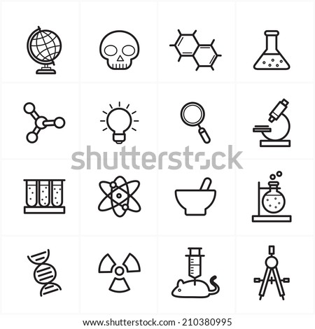 flat line icons for science