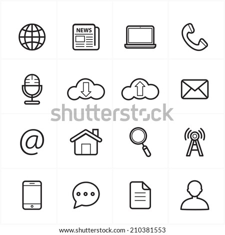 Flat Line Icons For Web Icons and Internet Icons Vector Illustration