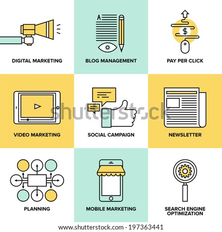 Flat line icons of digital marketing, video advertising, social media campaign, newsletter promotion, pay per click service, website seo optimization. Flat design modern vector illustration concept.