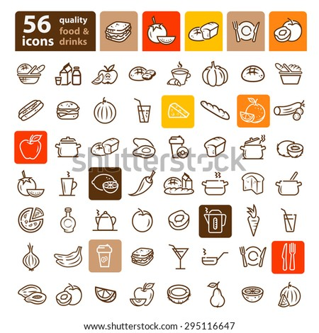 flat line icons of food and