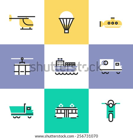Flat line icons of various transportation, by water and air, on rail and roads, for shipping goods and carriage people. Infographic icons set, logo abstract design pictogram vector concept.