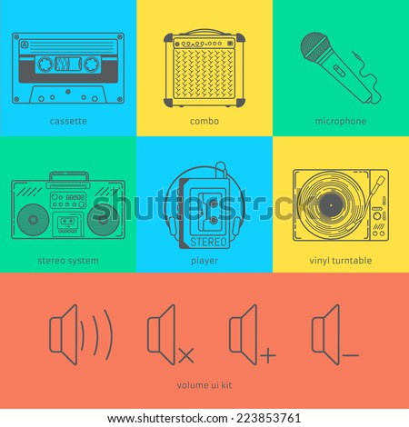 flat line icons set of audio