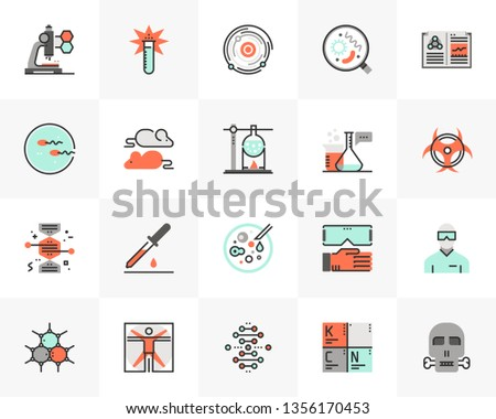 Flat line icons set of biotechnology lab, gene modification. Unique color flat design pictogram with outline elements. Premium quality vector graphics concept for web, logo, branding, infographics.