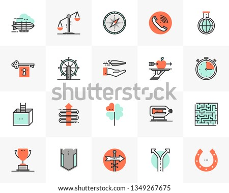 Flat line icons set of business concepts, marketing metaphors. Unique color flat design pictogram with outline elements. Premium quality vector graphics concept for web, logo, branding, infographics.
